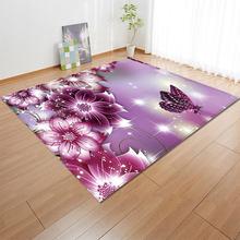 1pcs/set Flower 3D printing bedroom carpet living room coffee table sofa large carpet mat door bedside mat