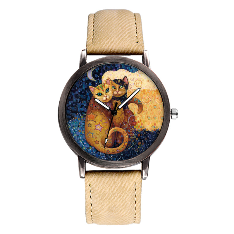 Moon Cat Trend Casual Simple Personality Fashion Children's Watch PU With Simple Quartz Performance Children's Watch
