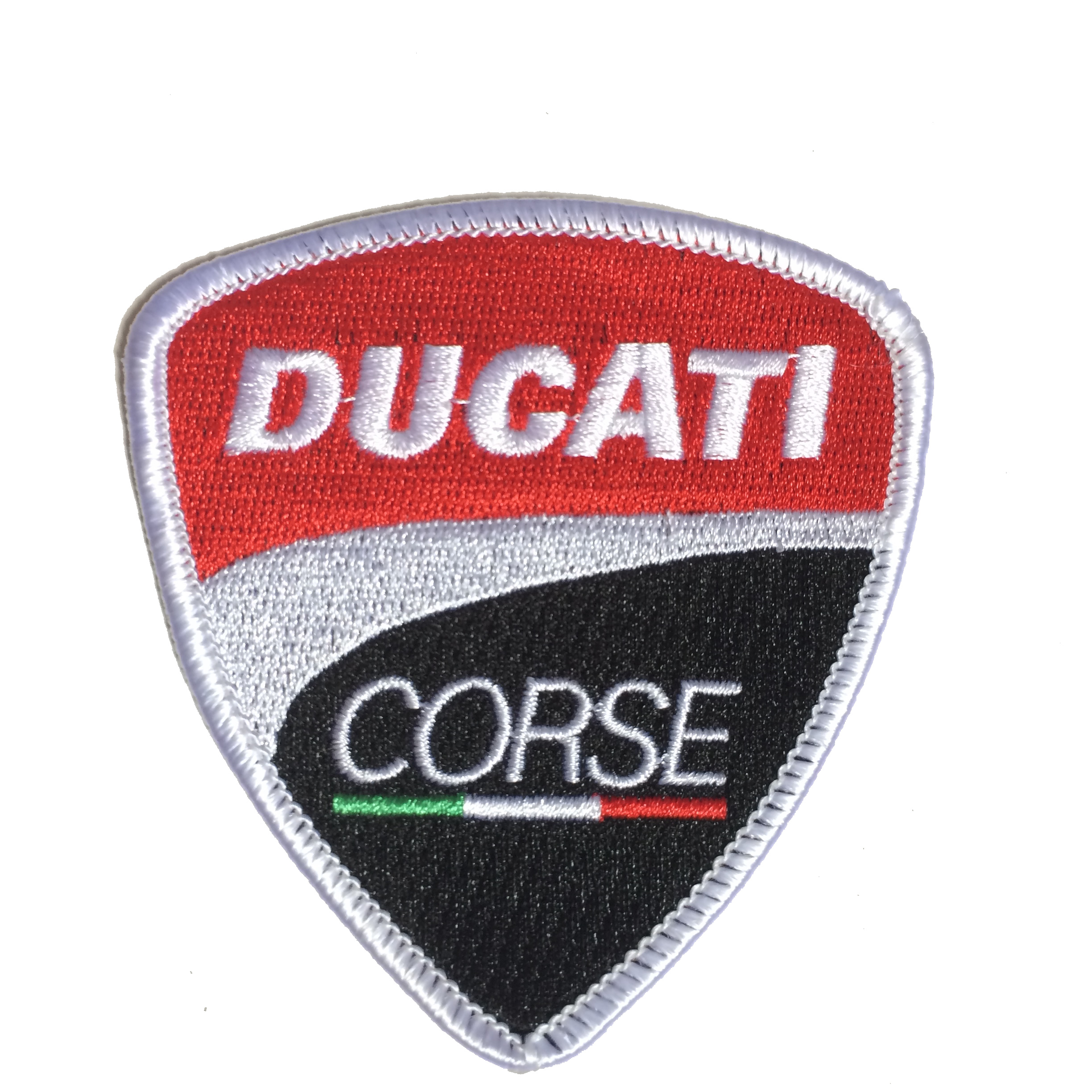 Ducati Corse Racing Embroidery Patches For Garment Badge Merrow Border Iron-on Backing As Customized Design Free Shipping