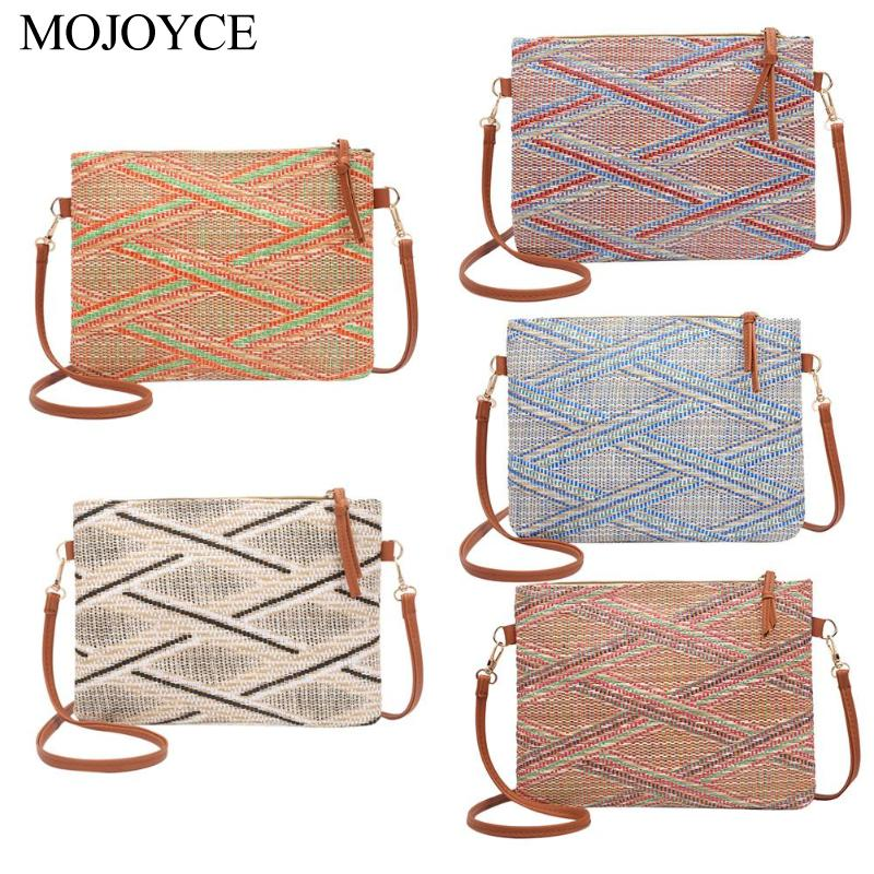 Vintage Women Weave Messenger Shoulder Bags Casual Purse Crossbody Handbags
