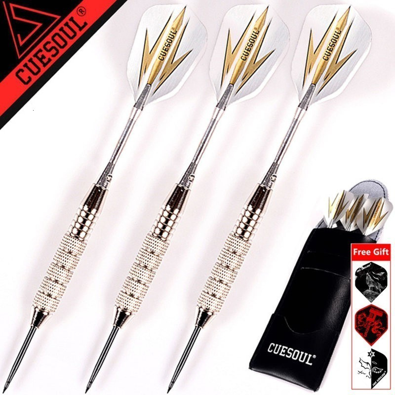 Today Get Gift CUESOUL 3pcs/set Professional Darts 24g 25g Black Golden Color Steel Tip Darts With Aluminum Darts Shafts