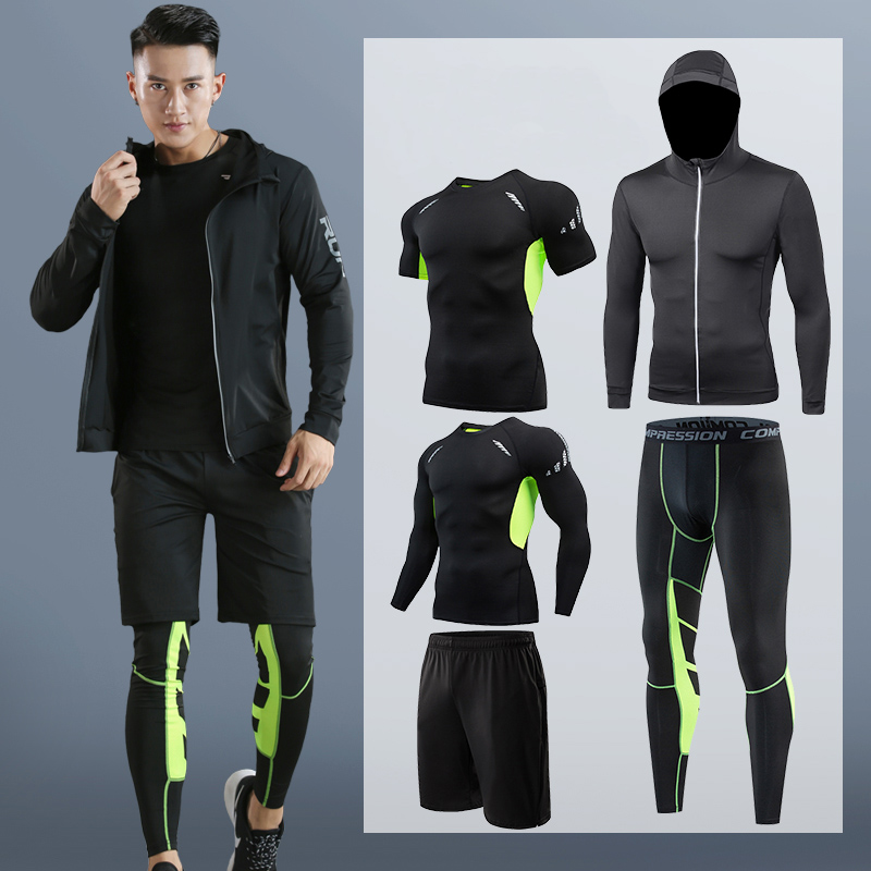 Dry Fit Men's Training Sportswear Set Gym Fitness Compression Sport Suit Jogging Tight Sports Wear Clothes 4XL5XL Oversized Male 3