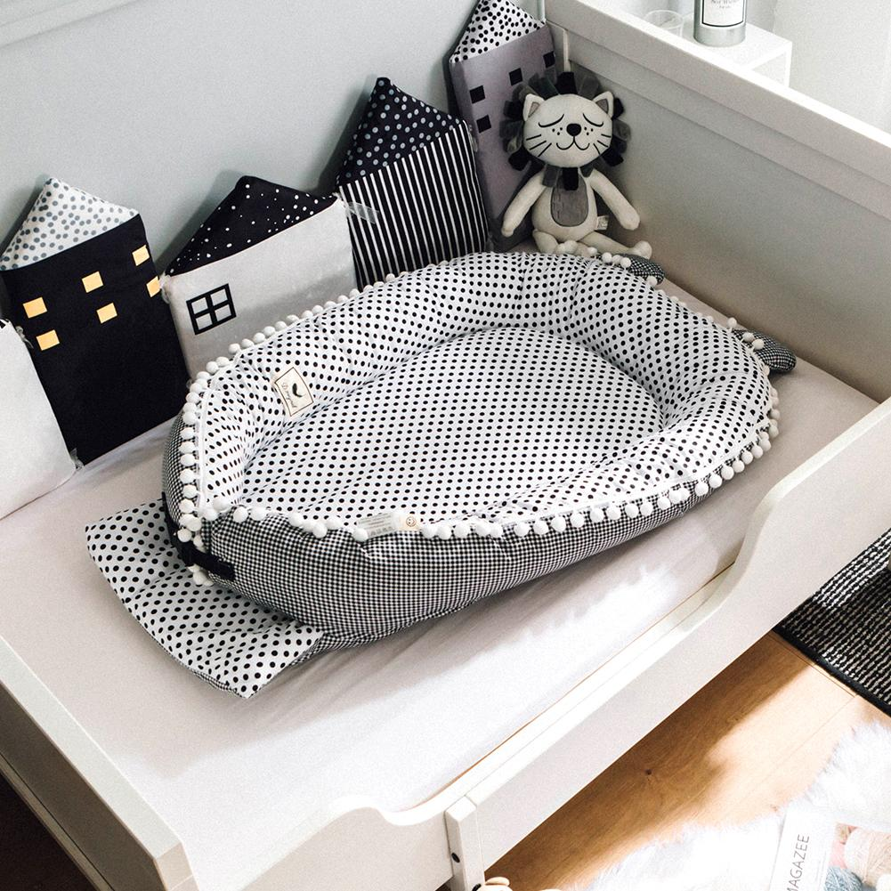 Newborn Crib Satin Baby Nest Cartoon Printing Bionic Bed Folding Detachable Washable Portable Baby Bed Multifunctional Crib