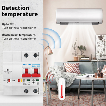 WiFi Smart temperature humidity Circuit Breaker overload short circuit protection with  Alexa google home for Smart Home ewelink 2p wifi energy monitoring rcbo circuit breaker overload short current leakage protection with alexa and google home