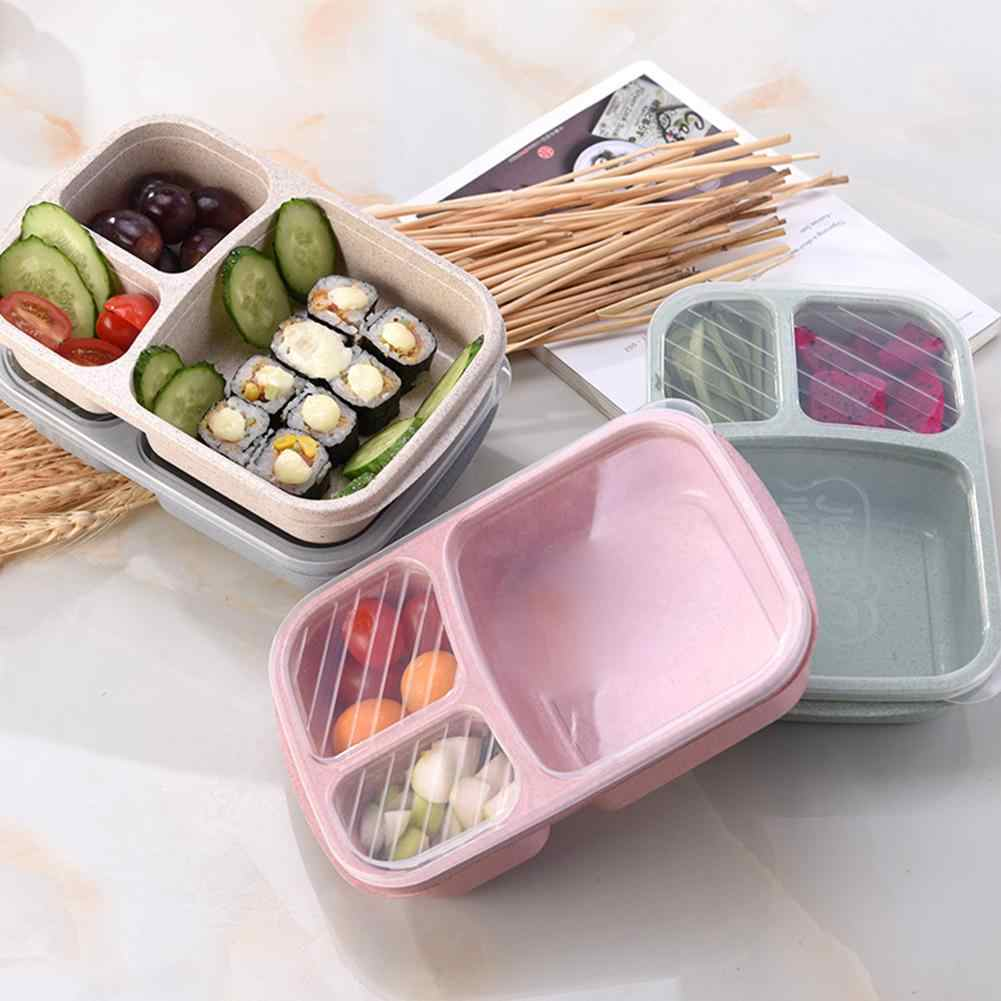 Portable 3-grid Wheat Straw Lightweight Bento Lunch Box Food Storage Container for Kids Bento Box Leak-Proof Independent