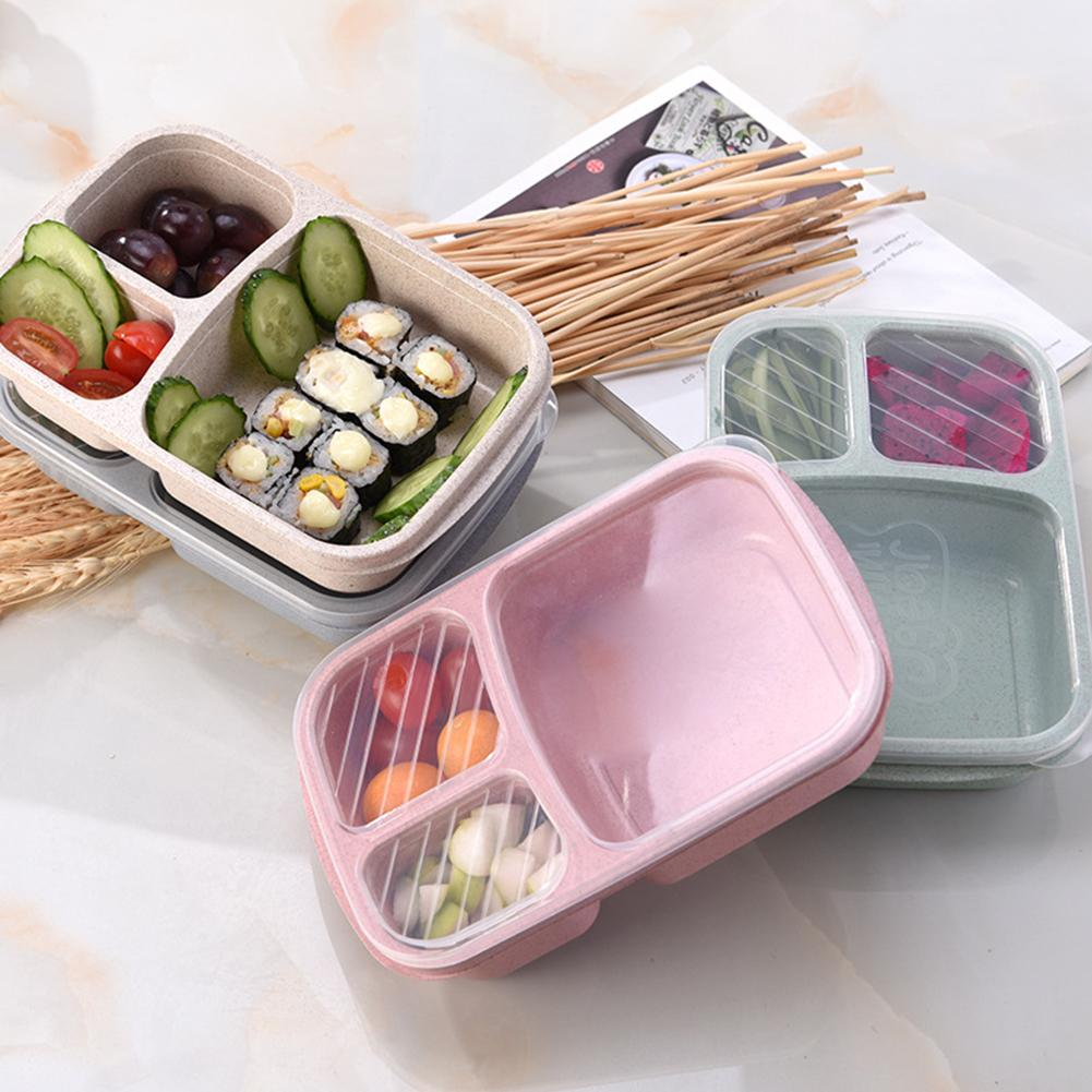 Portable 3-grid Wheat Straw Lightweight Bento <font><b>Lunch</b></font> <font><b>Box</b></font> <font><b>Food</b></font> Storage <font><b>Container</b></font> for Kids Bento <font><b>Box</b></font> Leak-Proof Independent image