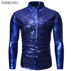 Image 4 - Luxury Red Glitter Sequin Shirt Men Long Sleeve Mens Shiny Disco Party Shirts Casual Slim Fit Stage Dance Prom Costume Chemise