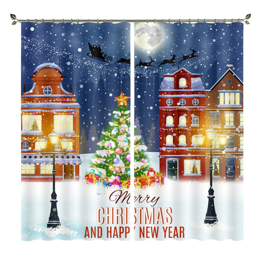 Personality <font><b>blackout</b></font> <font><b>curtains</b></font> to custom size shop theme happy new year christmas ins