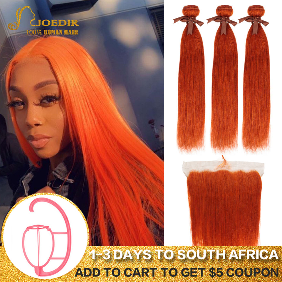 Joedir Brazilian Straight Hair Bundles With Frontal Lace Frontal With Bundles Orange Red Remy Hair 3 4 Bundles With Frontal