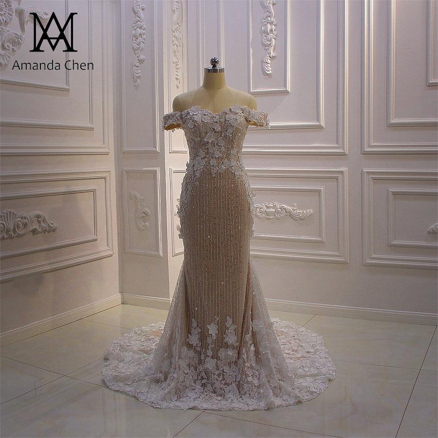 US $19.19 19% OFFhochzeitskleid Off Shoulder Lace Appliques Flowers  Champagne Wedding DressWedding Dresses - AliExpress