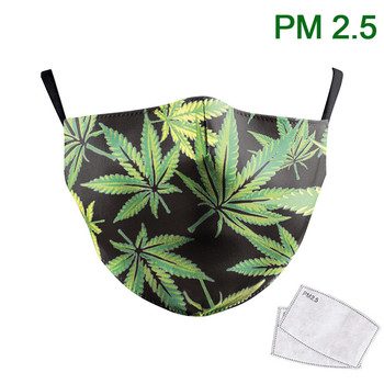 Simple Green Leaves Print Face Mask Adult Washable Fabric Masks Women Reusable PM 2.5 Protective Dust Mouth-Muffle Women Mask