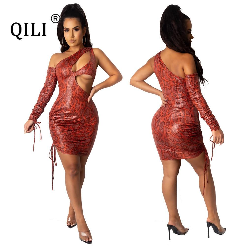 Купить qili женское платье на одно плечо сексуальное мини с вырезами