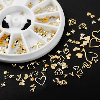 1Box złoty Nail Art Glitter Metal 3D Mix rama biżuteria wypełnienie żywica epoksydowa tworzenie form materiał do wypełniania dla DIY rzemiosło biżuteria tanie i dobre opinie 0inch Metal Frame Filling AC1058 linki do biżuterii Hollow metal patch Gold Moon Star Geometry Ocean Leaves DIY Epoxy Resin Jewelry Making