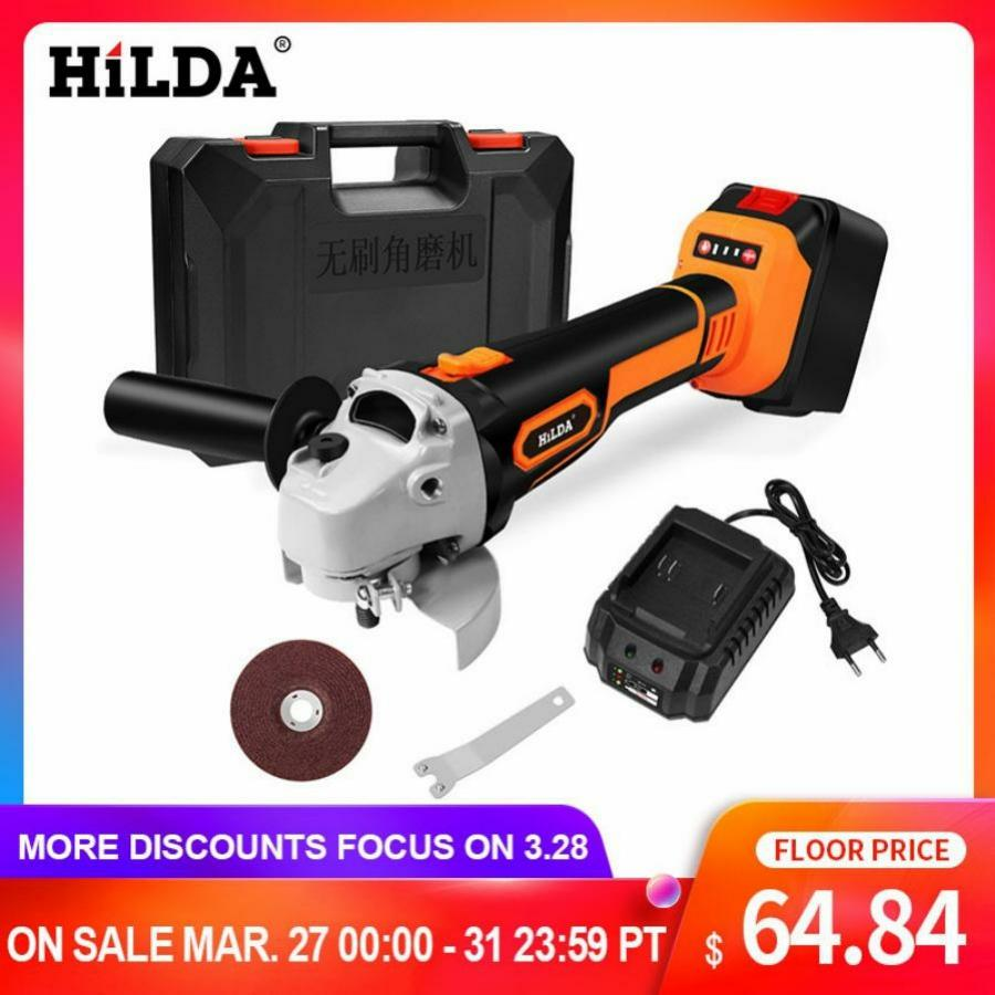 HILDA 21V Angle Grinder Cordless Lithium-ion Grinding Machine Brushless Cordless Electric Grinder Angle  Power Tools