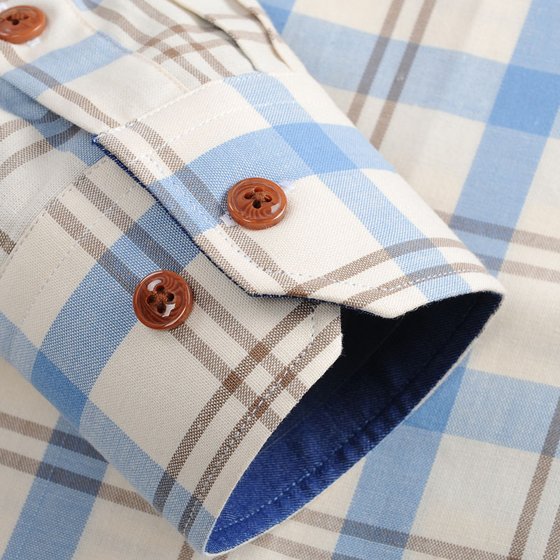 Men's 100% Cotton Long Sleeve Contrast Plaid Checkered Shirt Pocket-less Design Casual Standard-fit Button Down Gingham Shirts 4