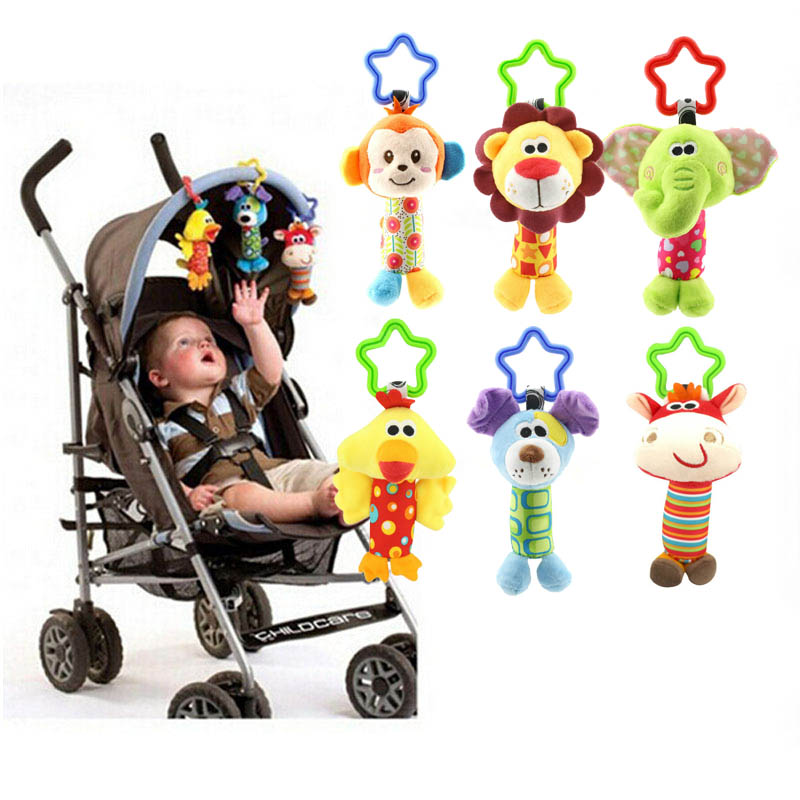 Cute Baby Toys Soft Musical Newborn Kids  Animal  Mobile Stroller  Plush Playing Doll Brinquedos Bebes Wj148