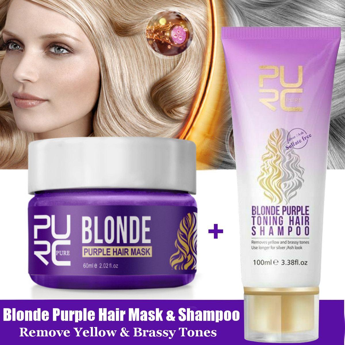mascara roxa para remocao de cabelos shampoo amarelo e prata para reparacao de cabelos danificados