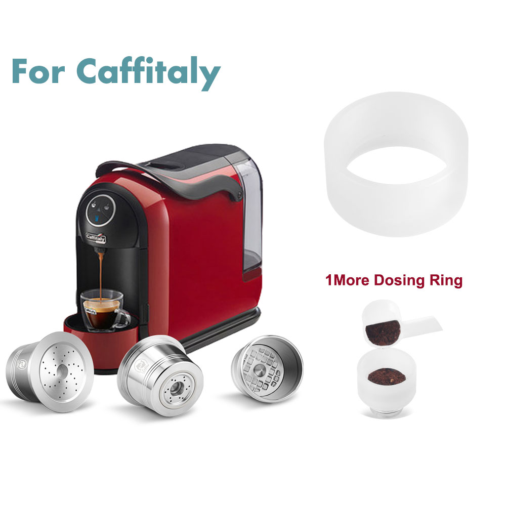 Reusable Coffee Filters Compatible For Caffitaly Tchibo Cafissimo Refillable Stainless Coffee Capsule Pod Refillable With Tamper
