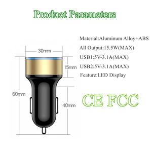 Image 2 - 3.1A wyświetlacz LED podwójna ładowarka samochodowa USB uniwersalny telefon komórkowy aluminiowa ładowarka samochodowa do iPhone 11 Pro Max XR Samsung szybkie ładowanie