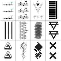 Black Geometry 3D Tattoo Sticker Music Triangle Cross Fake Tatoo Waterproof Temporary Men Boys Body Art 13.5X7.5 Set of 12