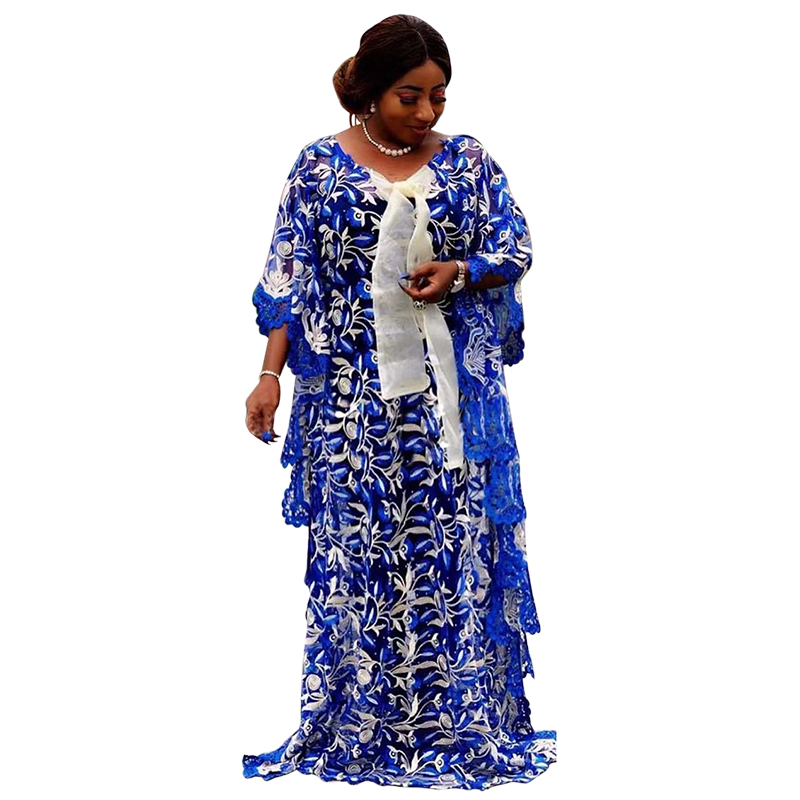 Super Size Autumn Lace Dresses New African Women's Dashiki Fashion Water-soluble Lace Loose Beaded Embroidery Long Dress