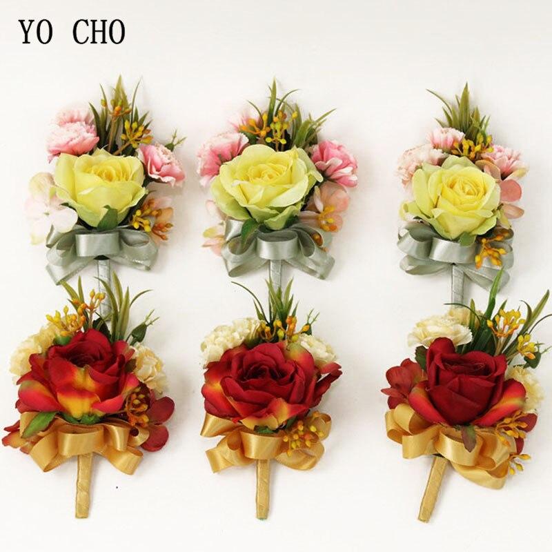 YO CHO Silk Boutonniere Flower Wedding Bridal Wrist Corsages Men Boutonniere Groom Brooch Pins Artificial Rose Flower Corsages