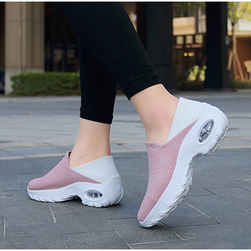 Tênis feminino antiderrapante malha, calçado feminino plataforma,