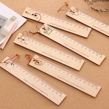 School Students Wooden Straight Ruler 15cm Measuring Range Pendent Bookmark