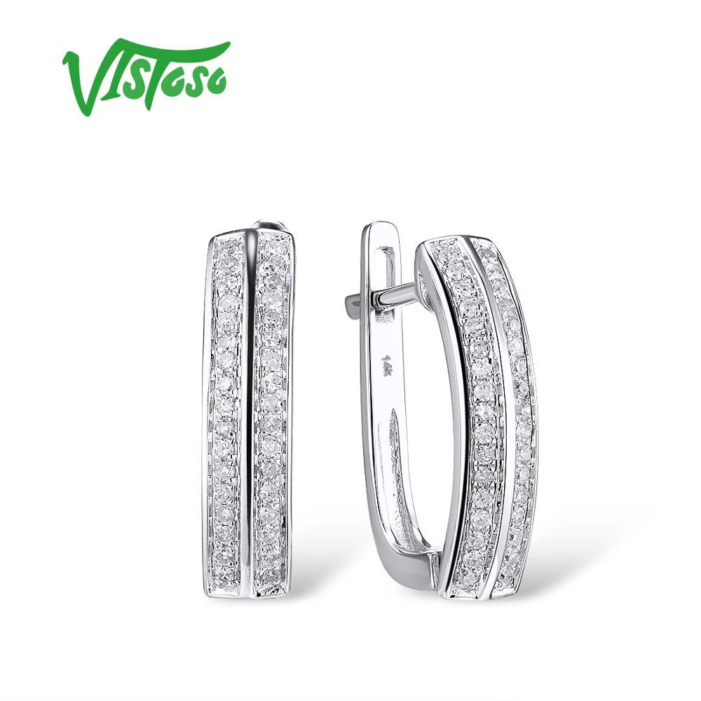 VISTOSO Gold Earrings For Women 14K 585 White Gold Sparkling Luxury Diamond Wedding Band Engagement Trendy Fine Jewelry