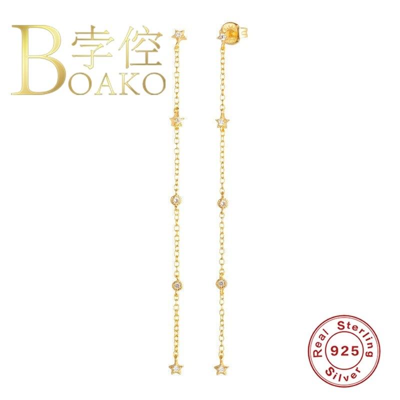 BOAKO Chain Tassel Pendientes Earrings For Women Earrings Dangle Star Piercing Earings Silver 925 Kolczyki Women #9.2