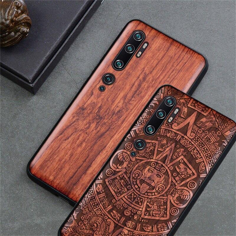 For Xiaomi Mi Note 10 Pro Case Original Wood Funda Mi Note 10 Rosewood Cover Phone Case For Xiaomi Mi Note 10 Pro