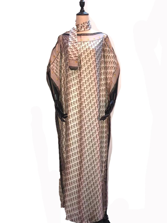 Sweet European Printed Silk Kaftan Dresses Popular Oversize Italian Kaftan Silk Women Dresses Match Scarf  African Clothes