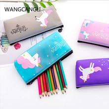 Korean version of the simple small fresh cute unicorn pencil bag jelly PVC pencil bag girl heart student literary pencil case watermelon pattern jelly pencil case