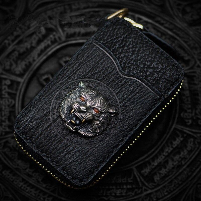 Женский Мужской Латунный как Kurata Key черный кошелек на молнии внутренняя Акула кожа сумка клатч кошелек держатели ключей Кошельки для монет