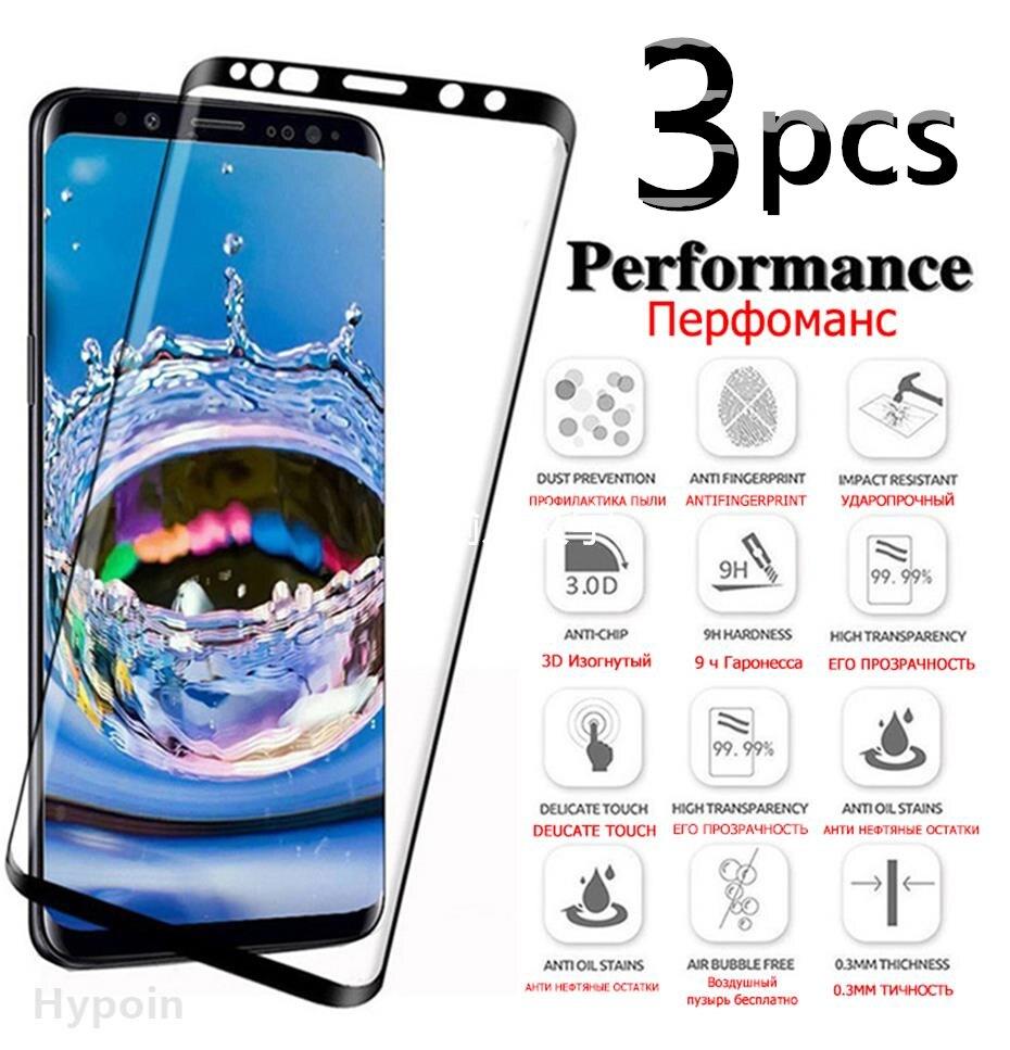 3 pezzi di vetro temperato protettivo curvo per Samsung Galaxy S8 S9 S10 S20 Plus pellicola salvaschermo per vetro S20 Ultra S10E