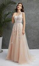 Wedding Dresses V Neck Light Champagne Floor Length Applique Open Back A Line Backless Bridal Dress Vestido De Noiva Mariage