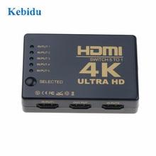 Kebidu interruptor hdmi 5x1, 4k * 2k, caixa de divisor ultra hd 1080p hdmi, seletor multimídia para hdtv xbox ps3 ps4