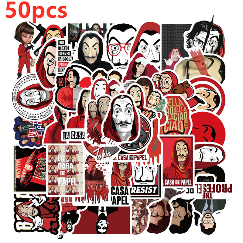 Salvador Dali Sticker Movie The House Of Paper La Casa De Papel Cosplay Props Accessories DIY Stickers Money Heist Costume