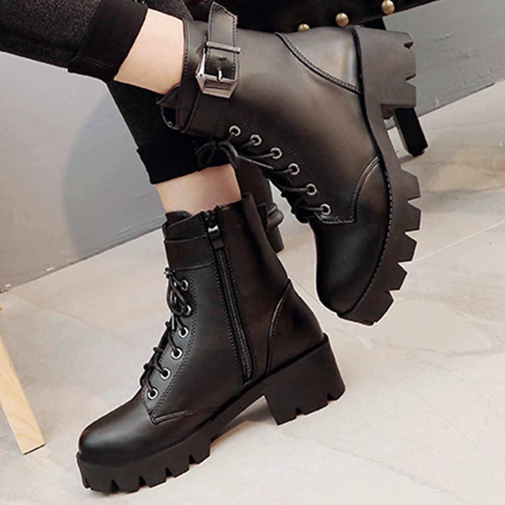 Mulher martin botas de couro de renda punk preto botas de salto quadrado botas curtas femininas dedo do pé redondo sapatos de plataforma botas femininas 2020