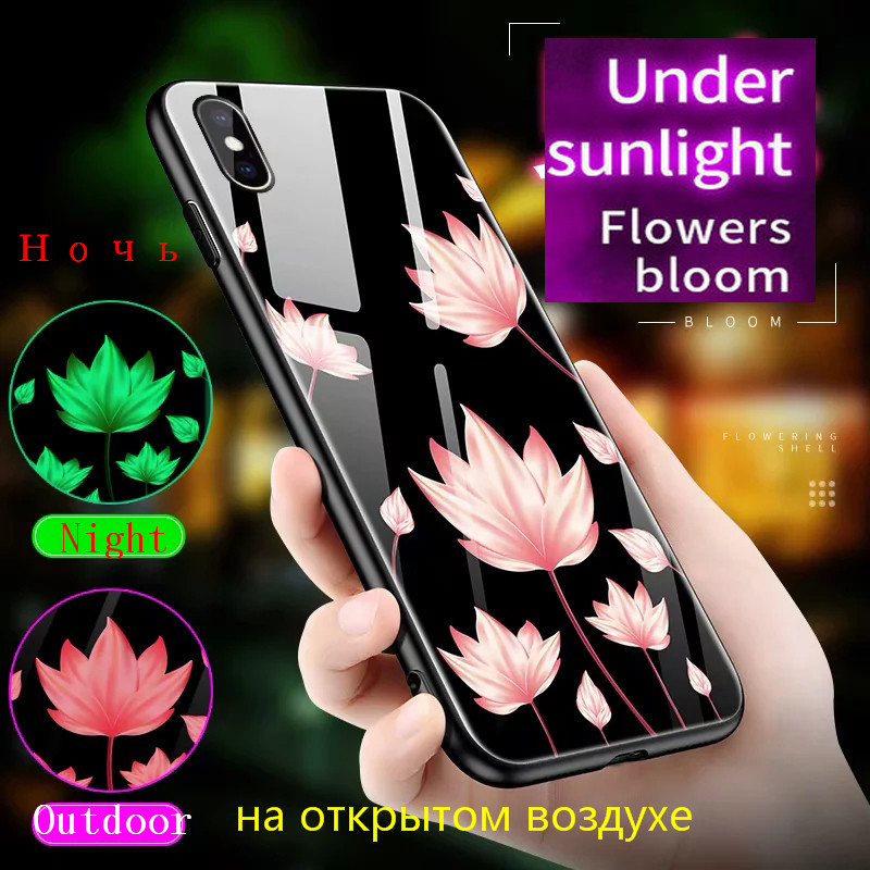 Hdba4d962e21140c0aa1e0bf64eddde6eV Luminous Tempered Glass Case For iPhone 5 5S SE 6 6S 7 8 Plus Case Back Cover For iPhone X XR XS 11 Pro Max Case Cover Cell Bag