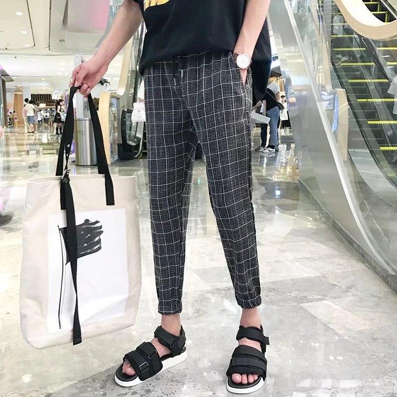 Pants Men's Korean-style Trend Capri Pants Loose-Fit Versatile Summer Thin Section Students Slim Fit Plaid Beam Leg 9 Casual Pan