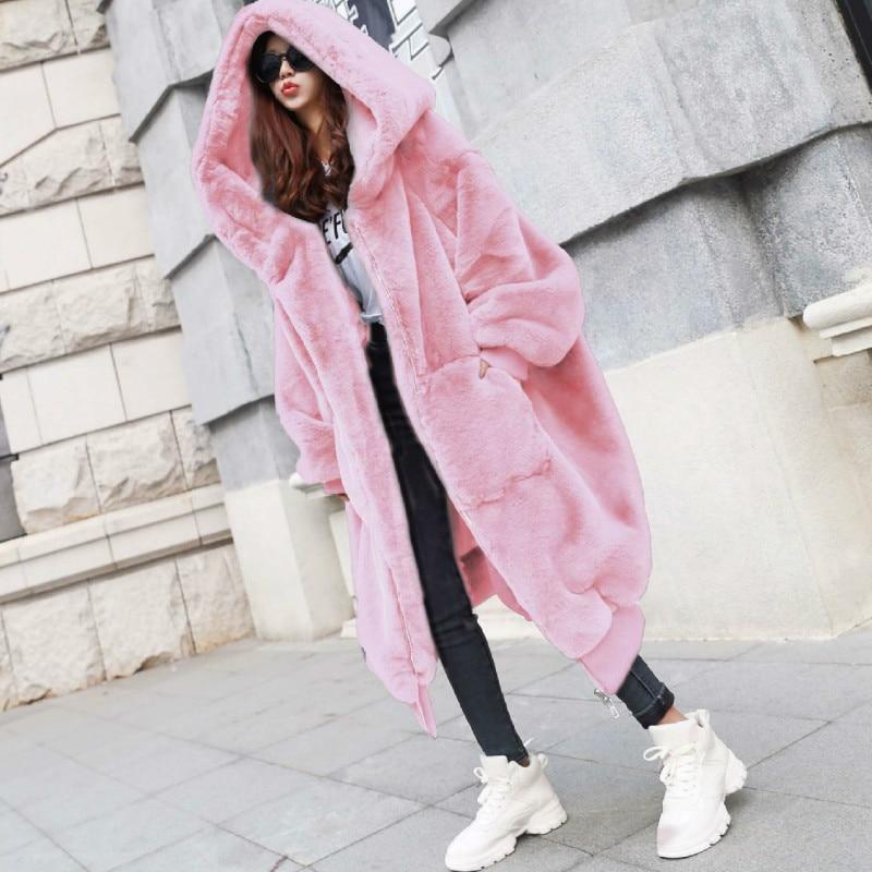 Winter Plus Size Women Artificial Fake Fur Coat With Hood Black Patchwork Faux Rabbit Fur Coats women winter coat Thick Warm