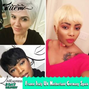 Image 1 - Trueme Brazilian Remy Short Bob Human Hair Wigs For Black Women Blonde Wigs 613 Ombre Short Straight Human Hair Full Wigs
