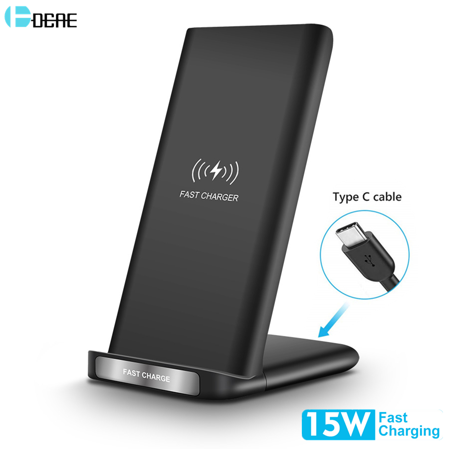 DCAE 15W 9V Quick Qi Wireless Charger For iPhone 11 Pro XS Max XR X 8 Type C Fast Charging Stand for Samsung S20 S10 S9 Note 10