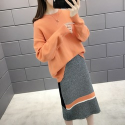 Crew Neck Dress Autumn 2019 New Style Women's Loose-Fit Sweater Skirt Two-Piece Set Half-length Knitted Slit Sheath