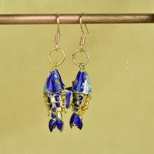 Последние с перегородчатой эмалью Koi Fish женские серьги с животными ушные украшения Висячие аксессуары ручной работы модные ушные капли в китайском стиле
