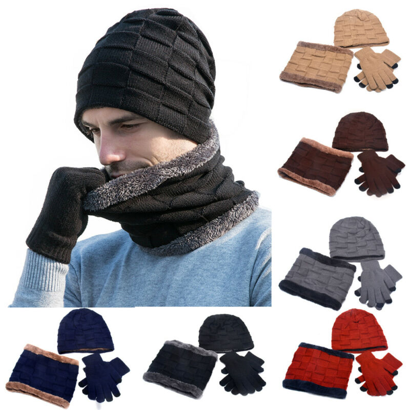 2020 New Winter Solid Knit Beanie Scarf Touch Screen Gloves 3 Pieces Set Women Men Warm Hat Thick Lining Plus Velvet Soft Cap