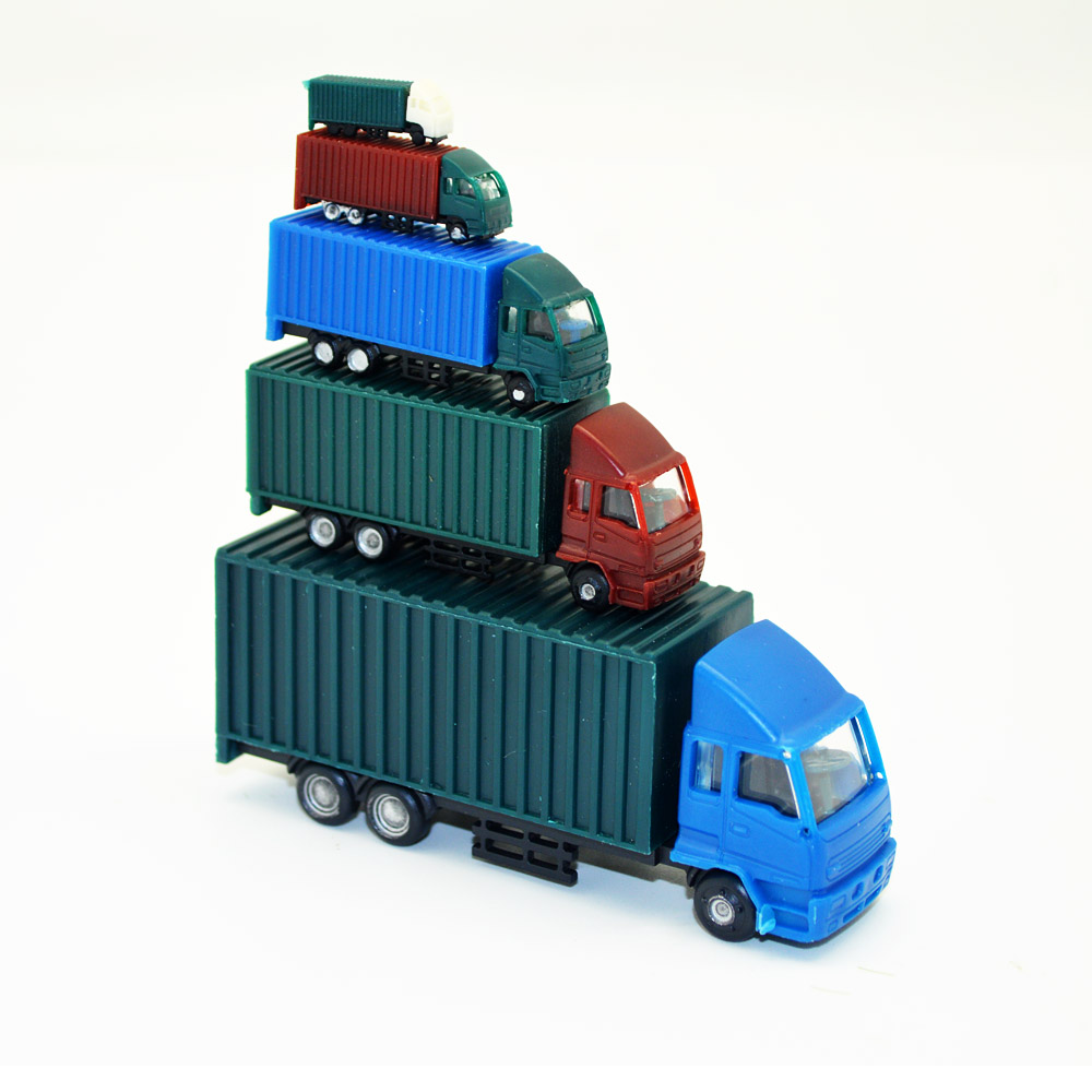 Model <font><b>Car</b></font> Multiple Ratios Container Truck Toys ABS Plastic For Train Layout 5pcs Sand Table Mini Simulation Building Diorama image