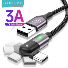 KUULAA rotation USB Type C câble 3A charge rapide type-c chargeur câble téléphone portable pour Huawei Samsung Xiaomi USB-C USBC cordon