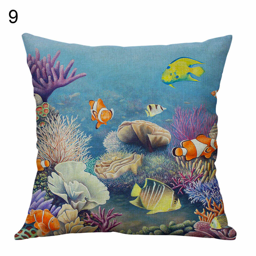 Funda de cojín de tortuga marina/caballo/Estrella de mar caliente funda de almohada decoración de cama y sofá para el hogar